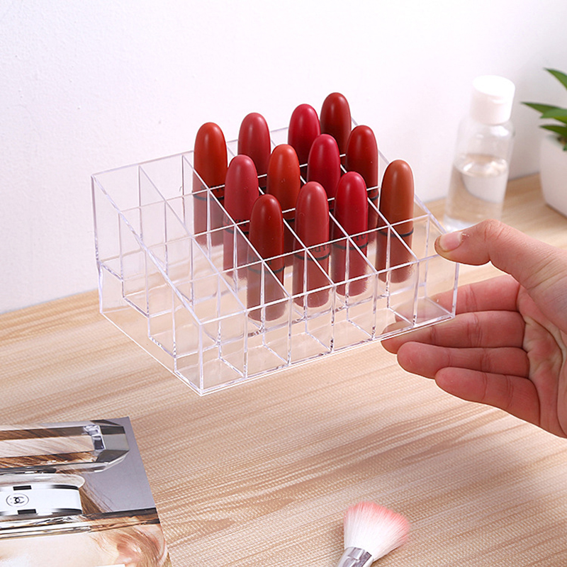 Multiple Grid Acrylic Transparent Makeup Organizer for lipstick Nail Polish and Cosmetic for Women 3