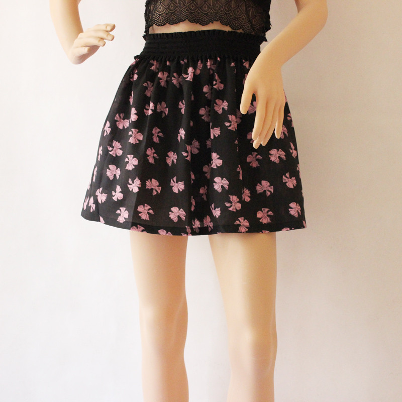 Fashion Pleated Retro High Waist Summer floral plaid Short Mini Skirts 17