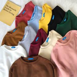 Женские кофты 2018 Harajuku сплошной Толстовка Для женщин толстовка с длинным рукавом Свободные Для женщин толстовки Повседневное спортивный