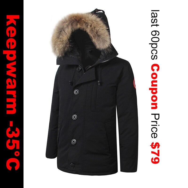2018 Brand New Mens Waterproof Waterproof Winter Warm Real Feather   Down     Coat   CHATEAU PARKA Raccoon fur