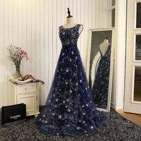 Vivian's Bridal Starry Sky Luxurious Evening Dress Sequined Diamond Beads Navy Blue Star Zipper Court Train Women Party Dress