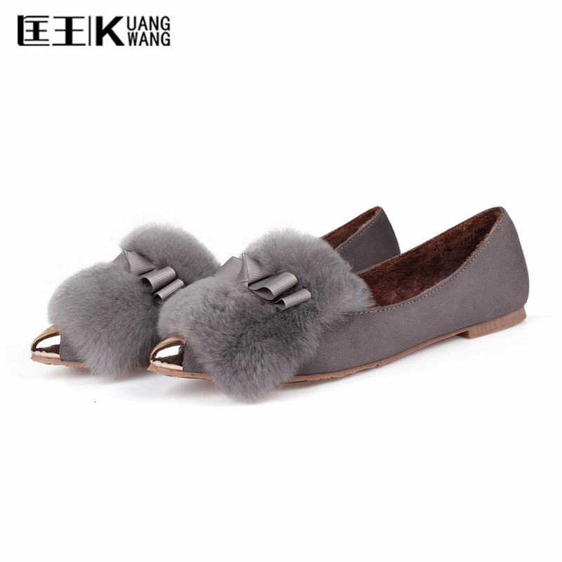 2017 Autumn Winter Women Shoes 34-43 Size Rabbit Fur Pointed Toe Casual Flats ladies Bow-tie Shoes Woman Slip Ons Loafers New new 2016 european brand designer winter warm flats black leather rabbit fur loafers metal decorated hot sell flat shoes women