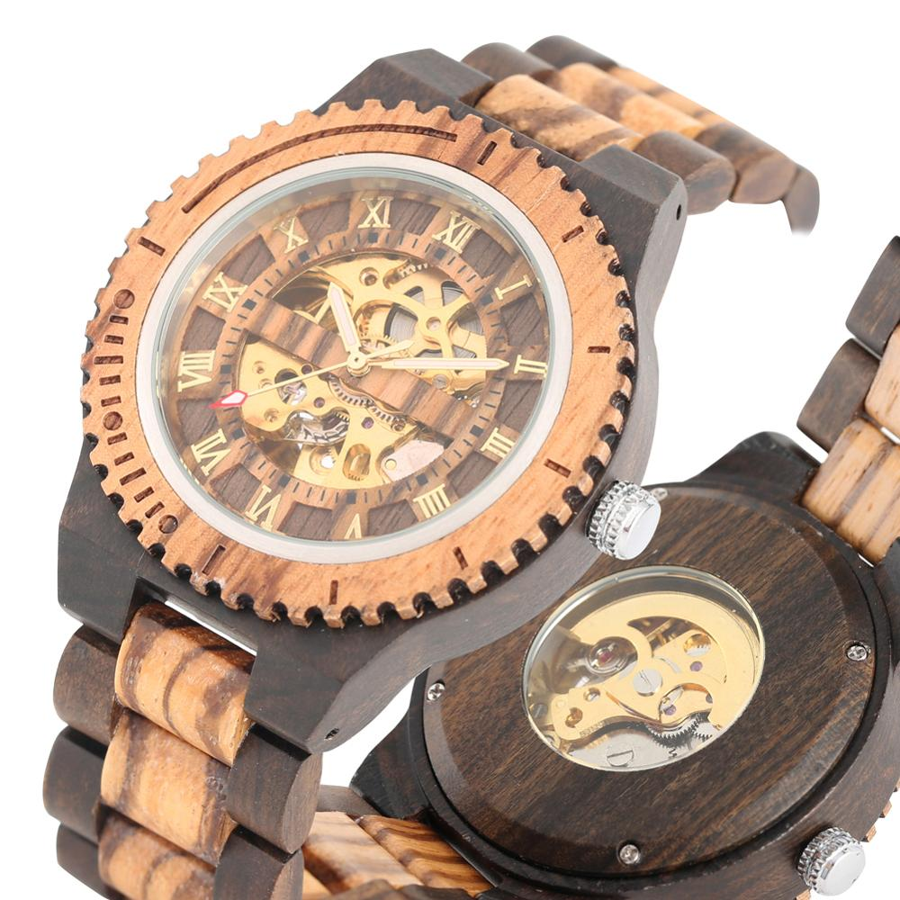 Fashion Automatic Watch Men Full Wooden Watches Luxury Golden Roman Numbers Dial Wrist Watch Timepieces Clock Male reloj hombre(China)