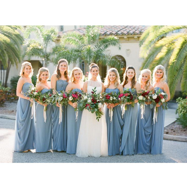 Gorgeous Dusty Blue Wedding Bridesmaid Dresses 2016 Spring Sweetheart Chiffon Simple Long Dress Customized
