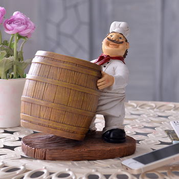 Funny Chef Statue Bottle Stand Decorative Polyresin Wine Barrel Barware and Drinkware Device Gift Craft Ornament Accessories