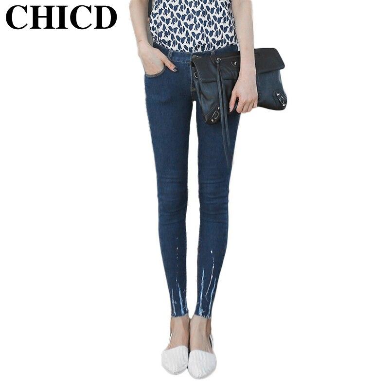 CHICD Fashion  2017 Women Mid Waist Vintage Button Full Length Floral Print Elastic Skinny Jeans Pencil Denim Pants Female XP288 trendy elastic waist full print skinny pants for women