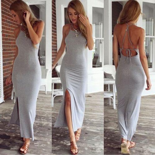 2017 New Summer Style Spaghetti Strap Bandage Maxi font b Dress b font Women Sexy Halterneck