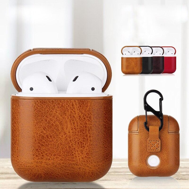 Étui en cuir pour Apple Airpods 2 sangle PC + étui en cuir avec boutons peau de protection en cuir pour Airpods livraison directe