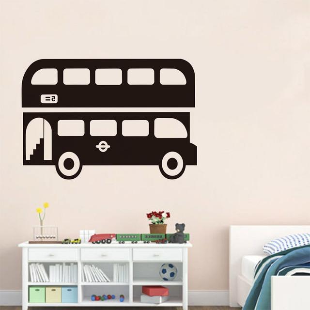 Art removable vinyl mural boys automotive decals auto decal large size city double decker bus wall