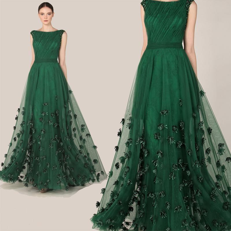 Emerald Green Zuhair Murad Evening Dresses A Line Tulle