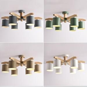 Image 5 - 現代のシャンデリアの照明北欧E27 鉄リビングルームのためのランプシェードsuspendsion照明器具lamparas木製光沢