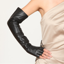 50cm(19.7) long classic fingerless no finger style elbow top sheep leather gloves black