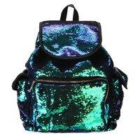 2017 Unique Design Women Female Double Color Sequins Girls School Bag Soft Backpack Fashion Bag High