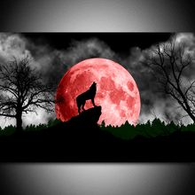 h red moon and wolf diamond Embroidery diy painting mosaic diamant 3d cross stitch picture H448
