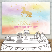 Allenjoy unicorn backdrops for photography colorful cute birthday backgrounds photocall fabric send folded space props polyester