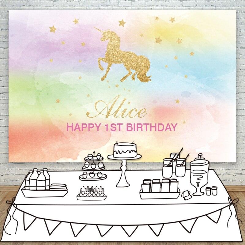Fond de licorne Allenjoy pour la photographie coloré mignon anniversaire arrière-plans photocall tissu envoyer plié espace accessoires polyester
