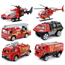 6PCS/Set 1:87 Firefighter Fire Fighting Truck Engine Helicopter Control Operator Protection Fireman Kids Toys Boys for sam