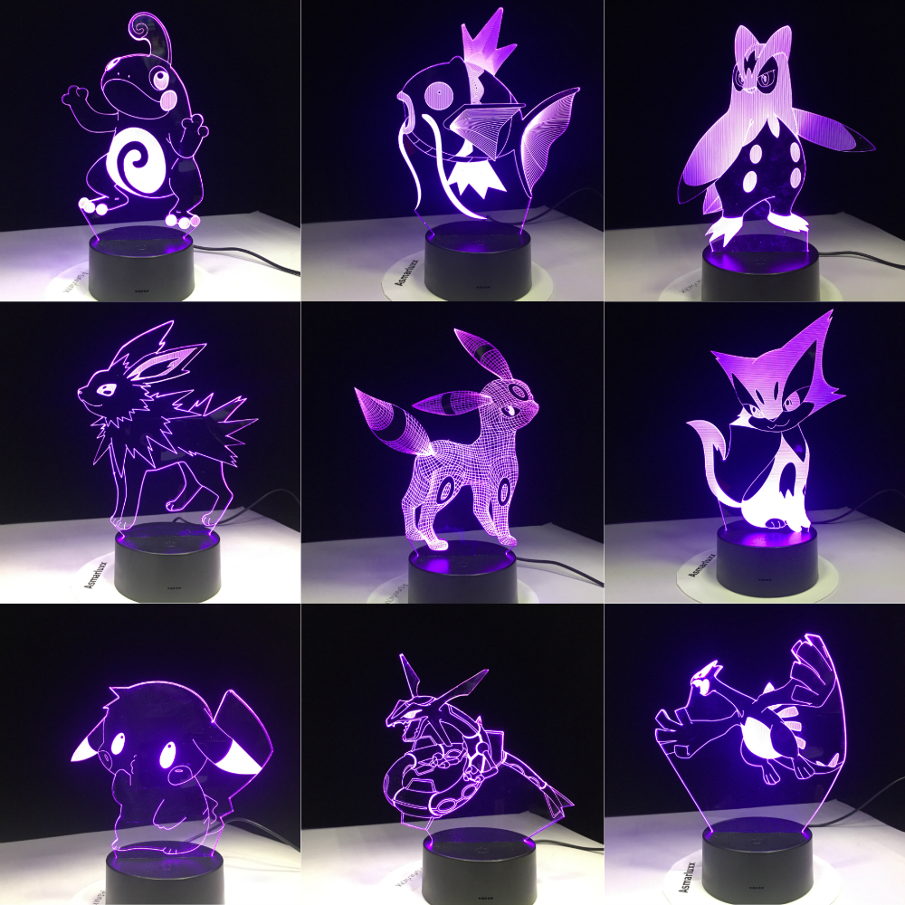 Pokemon Go Mimikyu Ho-Oh Purrloin Magikarp Raikou Rayquaza Prinplup Politoed Lugia Cartoon 3D Lamp 7 Color LED Decor Night Light