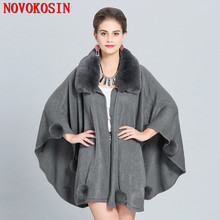 2018 Solid Black Big Cloak Grey Faux Fox Fur Neck Plus Size Shawl Women Ball Long Knitted Cardigan Winter Warm Thick Poncho