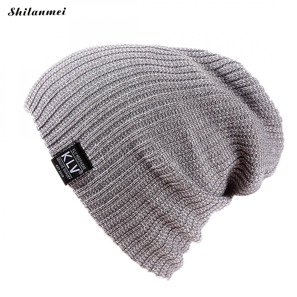 Men's Cool   Beanie   Slouch Skull Cap Fashion Baggy Hip-Hop Hat Winter Warm Knitted   Beanie     Skullies   For Adult Unisex Teenager Hat