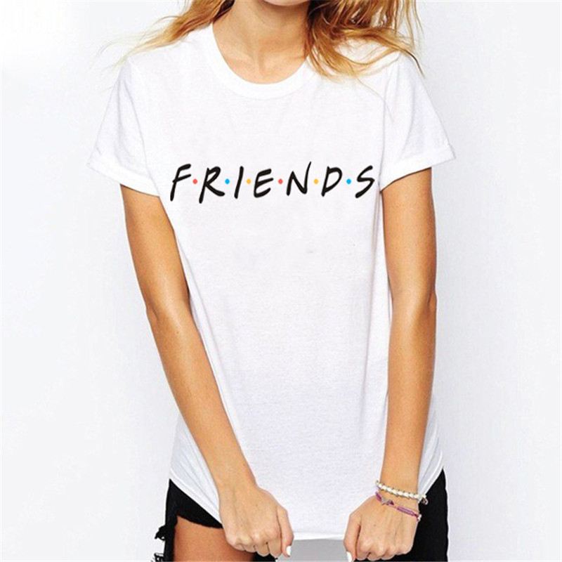 WT0040 New Arrive Women Summer Casual T-shirt Friends Letter Tees Love gift For Girlfriends image