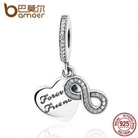 BAMOER 925 Sterling Silver Forever Friends Clear CZ Heart Bow Knot Pendant Fit Charm Bracelets Women