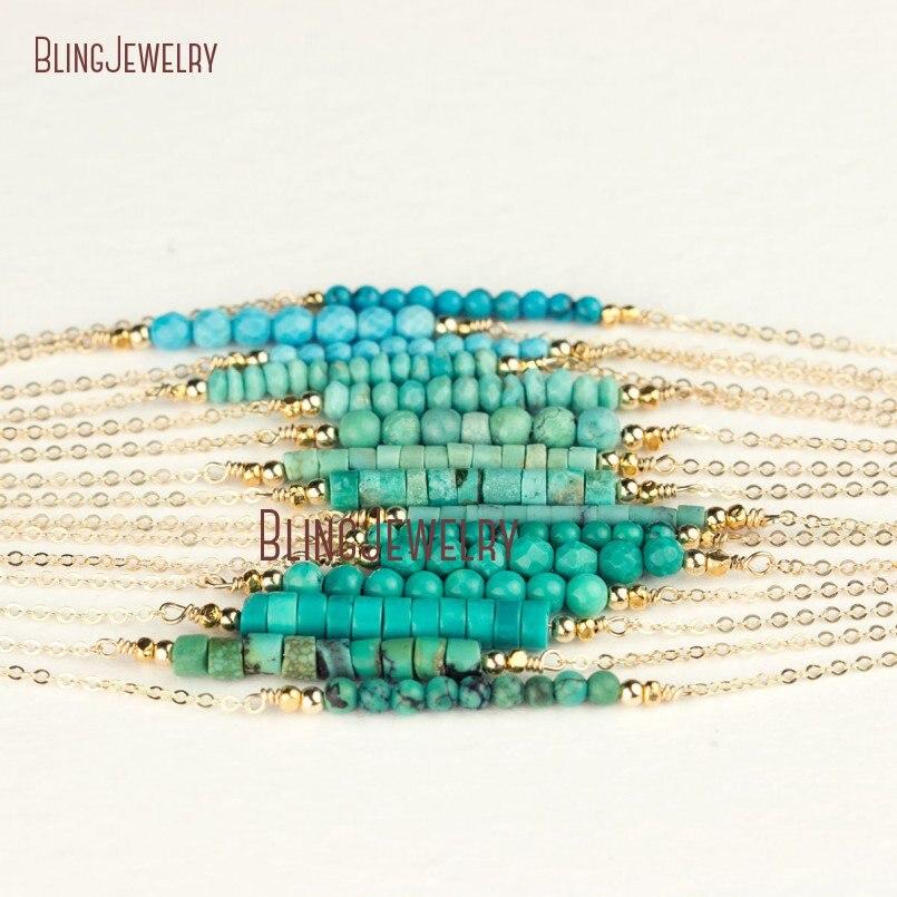 Türkisen verkrustete Halskette Perle Bar Halskette Dainty Gold Füllen oder Silber Zarten Stein Bar Halskette Schaukel Perlen Halskette NM18452-in Anhänger-Halsketten aus Schmuck und Accessoires bei  Gruppe 1