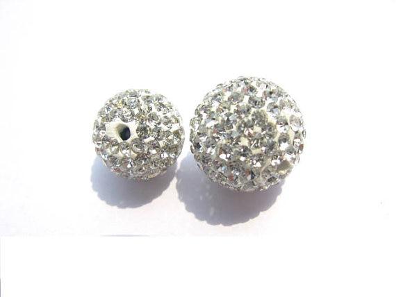 Haute qualité 100 pièces 4-16mm Micro Pave argile cristal strass boule ronde clair blanc gris noir mixte perles breloque