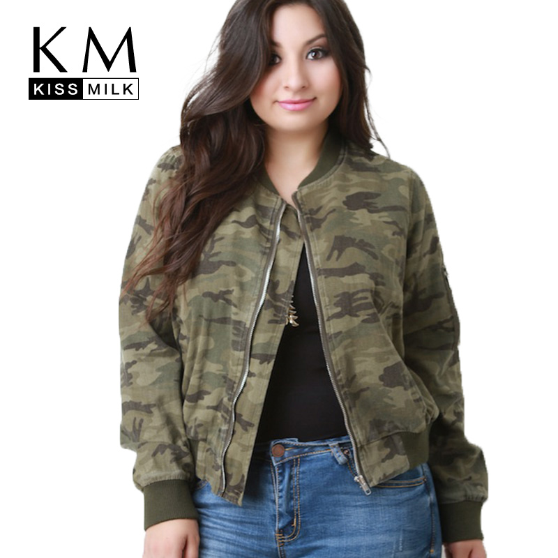 kissmilk Plus Size 2018 Camouflage Printed Women Jackets Zipper Long Sleeve Bomber Jackets Female Clothing Casual Lady Coats in Jackets from Women 39 s Clothing