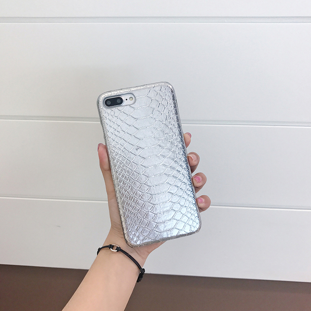 Silver Snake Skin Pattern PU Cover for iPhone 7 8 Plus Case Luxury for Women  Shiny Carcasas for iPhone 8 7 6 6s Plus Case 7a6e691a2e