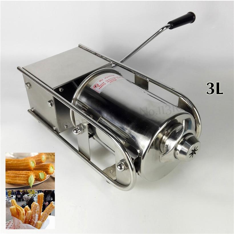 Commercial Horizontal Sausage Stuffer Stainless Steel 3L Sausage Filler Spanish Churros Making Machine Manual Churro Maker