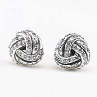 Authentic 925 Sterling Silver Earring Sparkling Love Knot With Crystal Studs Earrings For Women Wedding Gift
