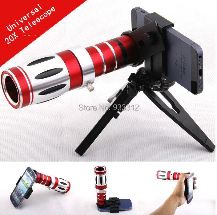 Universal 20X Zoom:800M Telescope Lens Telephoto Camera Tripod For Apple iPhone 6S SE 4S 5C For Xiaomi Redmi Pro/S7 S6 Edge PLUS 10x zoom telescope lens with tripod