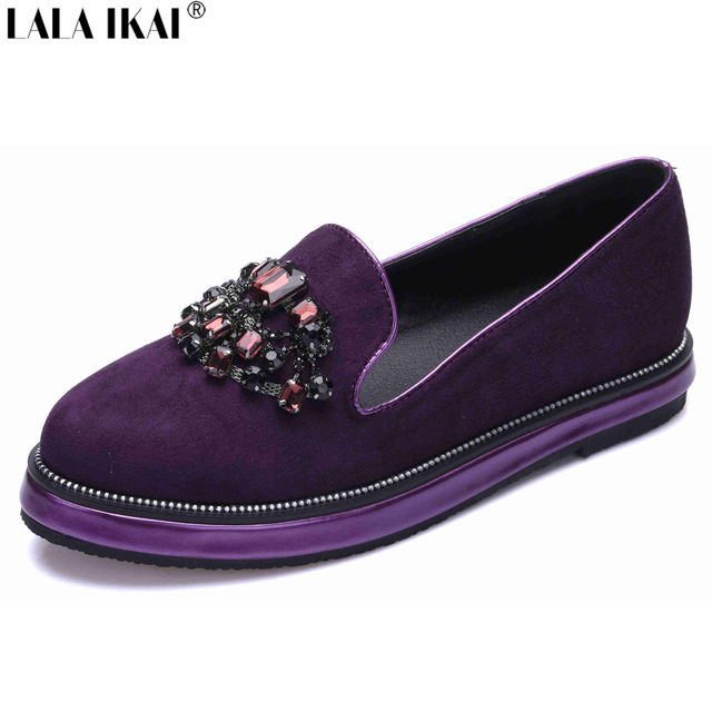 LALA IKAI Espadrille women Flats Platform shoes with bling Rhinestone luxury brand Female Footwear Loafer for ladies XWA0301-5 embroidered letter striped espadrille flats
