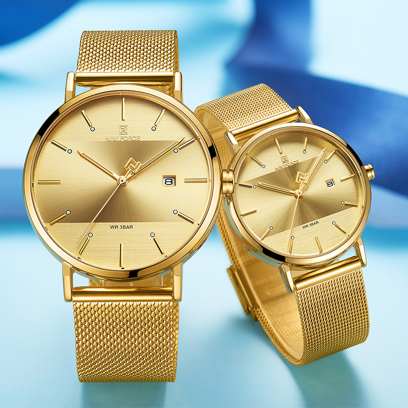 NAVIFORCE Lover's Watches For Men And Women Fashion Simple Quartz Wristwatch Waterproof Date Clock Gold Couple Watch Gift 2019