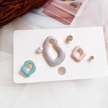 Unique fashion ladies earrings personality geometry stud small colorful wholesale fashionable exquisite gifts