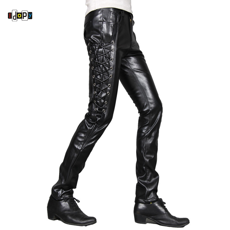 great discount sale classic styles half price US $27.24 30% OFF|Idopy New Mens Skinny Faux Leather Pants Personlity  Steampunk Black Slim Fit Biker Leather Pants Gothic Trousers For Men-in  Leather ...