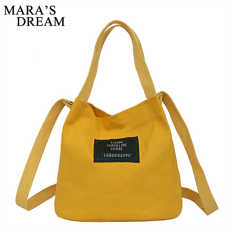 Mara's Dream 2019 Lady Canvas Handbag Mini Single Shoulder Bag Crossbody Messenger Bags Women Bucket Bag Korean Luxury Women Bag