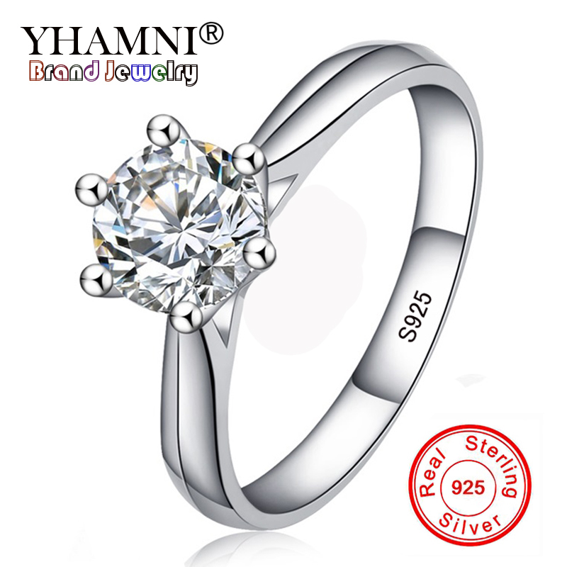 Lose Money 99% OFF! Fine Jewelry Original Natural 925 Silver Rings Solitaire 6mm 1ct Sona CZ Stone Wedding Rings For Women RL003