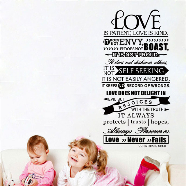 Bible Wall Stickers Love Is Patient Scripture Quote Wall Decal Bible ...