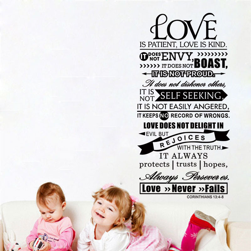 Bible Wall Stickers - Love Is Patient Scripture Quote Wall Decal Bible Verses Wall Art Decor S and L ...