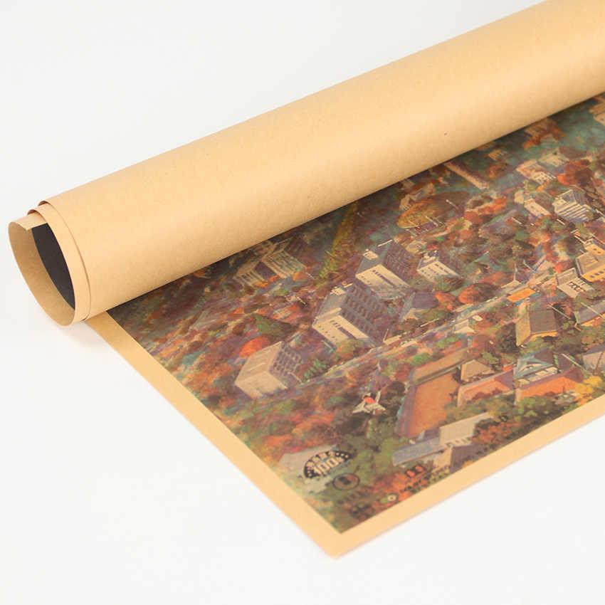 TIE LER, винтажная Наклейка на стену, крафт-бумага, винтажная декоративная живопись постер, украшение для детских комнат, 50,5x35cm