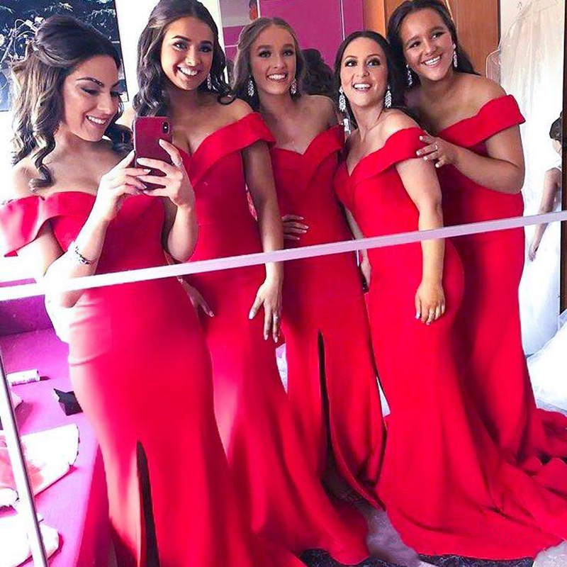 2019 Elegant Off The Shoulder Satin Mermaid Long   Bridesmaid     Dresses   Ruched Split Sweep Train Wedding Guest Maid Of Honor   Dresses