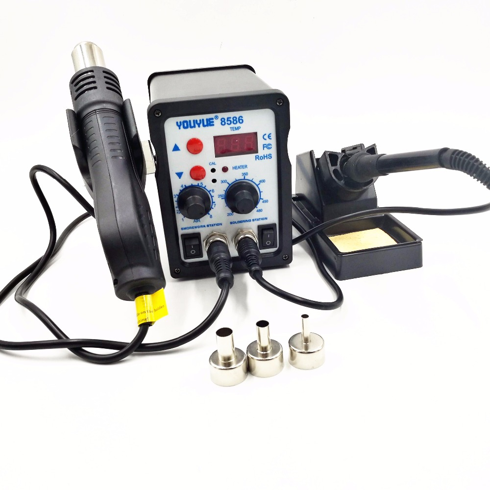 220V/110V  700W Soldering Station YOUYUE 8586 2 In 1 SMD Rework Station Hot Air Gun + Electric Solder Iron Station 3 Nozzles