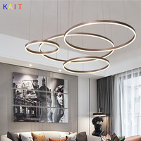 Modern acrylic chandelier pendants For living Room Dining Room Kitchen Circle Golden/brown led chandeliers