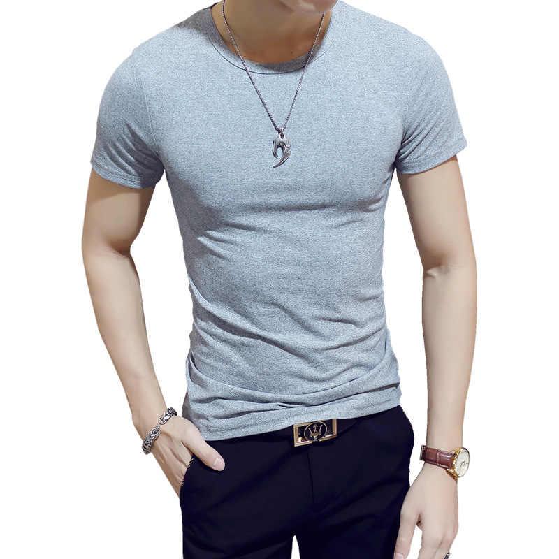 2019 新しい夏の固体男性の Tシャツファッション V ネック半袖 Tシャツ男性服トレンドカジュアルスリムフィットトップ Tシャツ