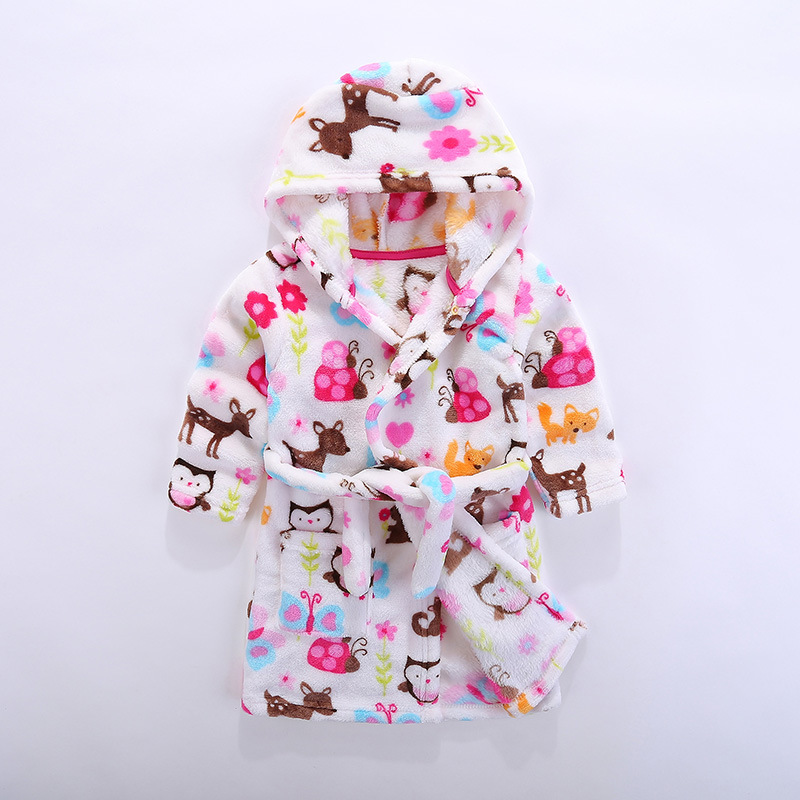 Childrens bathrobe Flannel bathrobe Children wear after sleeping and bathing