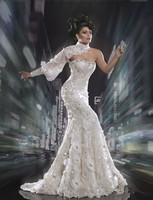 Yousef Aljasmi Labourjoisie Evening Myriam Fares Flower Lace Silver One Shoulder Floor Length Celebrity Dress