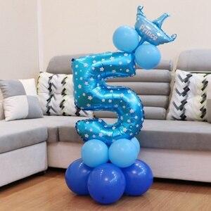 Image 4 - Lincaier I Am Five, крафт бумажный баннер, 5 лет, день рождения для мальчиков и девочек, 5 воздушных шаров, вечерние украшения, пятая бандана, гирлянда розового и синего цвета
