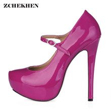 346a1e25e13 Women Round Toe Height Platform Extreme High Heels Shoes 14CM Sexy Pumps  Nightclub Evening Party Wine Red Black